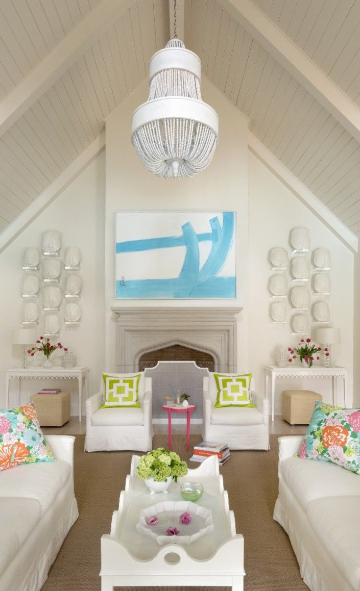 Kevin Walsh - a fun room full of oomph! | Lilly Pulitzer Pillows | Consoles, cubes, coffee table, and tini!