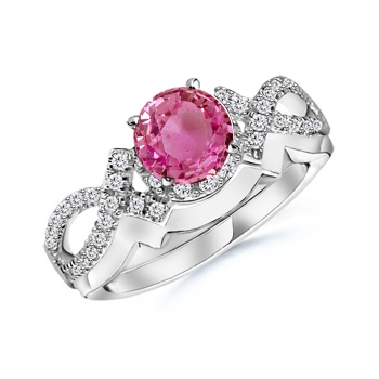 Angara Pink Sapphire Diamond Wedding Band Ring Set in Platinum CryypLfC