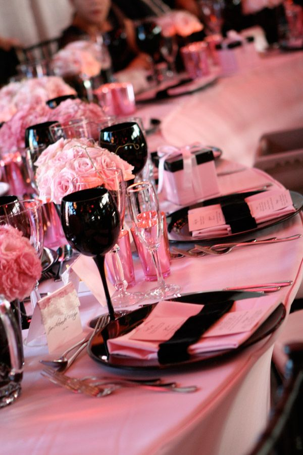 Cheryl...how do you like the black chinaware & glassware for your Pink, Black & White wedding?  I think it would go great with white linen, pink overlays, white chair covers, black sashes, white napkins!  Let me know what you think, we could rent the black glassware/chinaware!      #wedding #pink #pretty