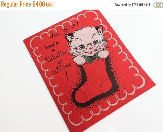 SAVE NOW 1940's Valentine Card for Sister by SheerTrashRoadshow