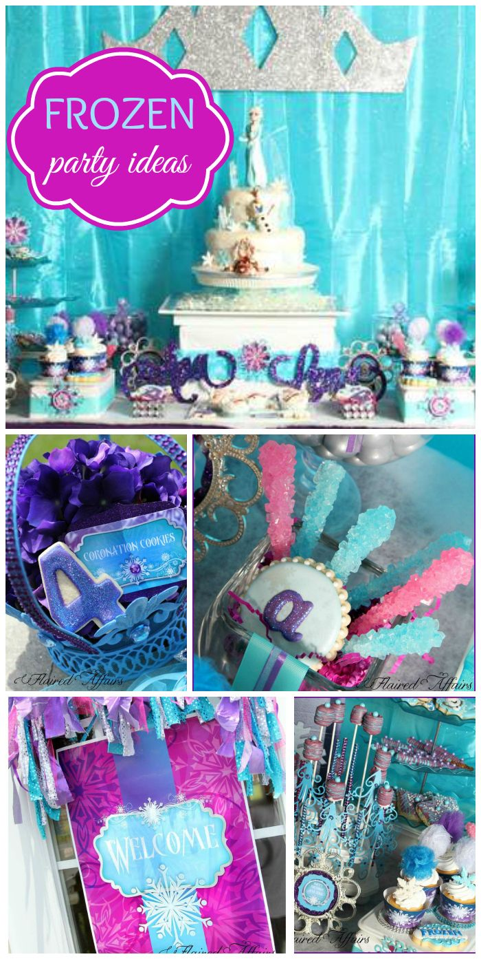A Frozen girl birthday party with face painting, garlands, birthday cake and blue and purple decorations!  See more party planning ideas at CatchMyParty.com!