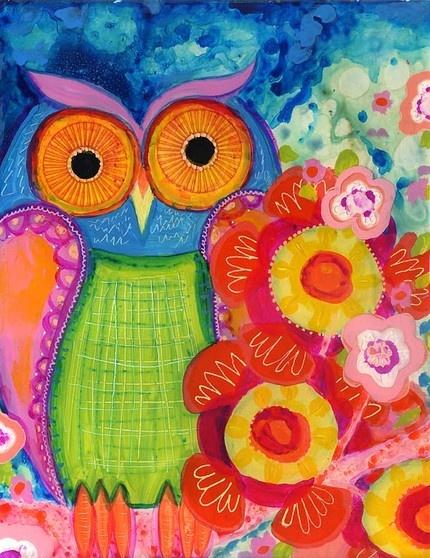 Wyanne mixed media owl