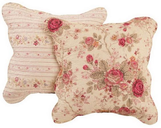 Romantic Chic Shabby Cabbage Roses Decorative Pillows.  Coordinate with the quilt set for a complete bedroom decor.