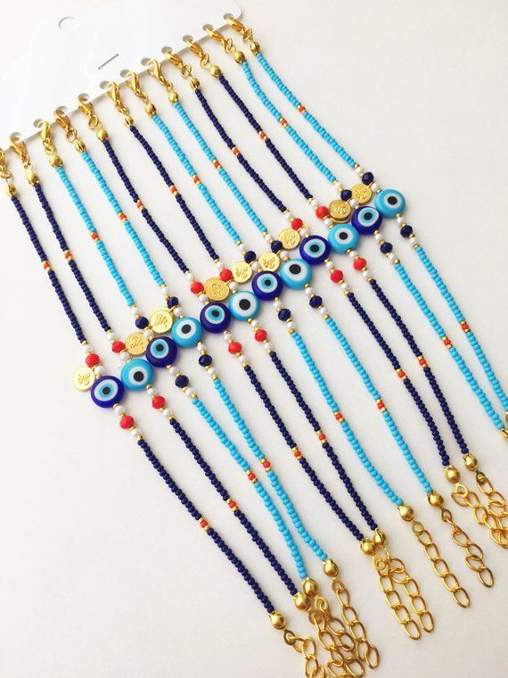 Evil eye bracelet, blue seed beads bracelet, gold charm bracelet, blue evil eye beads bracelet, evil eye charm bracelet, christmas gift