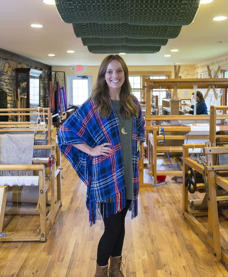 The DAR Tartan Raglan is a V-shaped shawl with fringe down the back. Woven in rayon chenille or boucle yarn in in the specially-commissioned DAR Tartan.