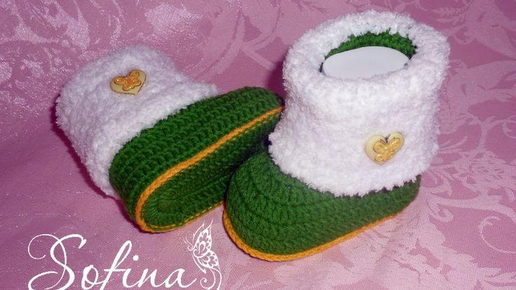 Пинетки для новорожденных/ Вязание для начинающих /Crochet baby booties