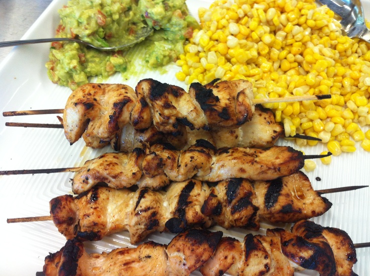 #Chicken Kebabs with Quacamole and marinated corn