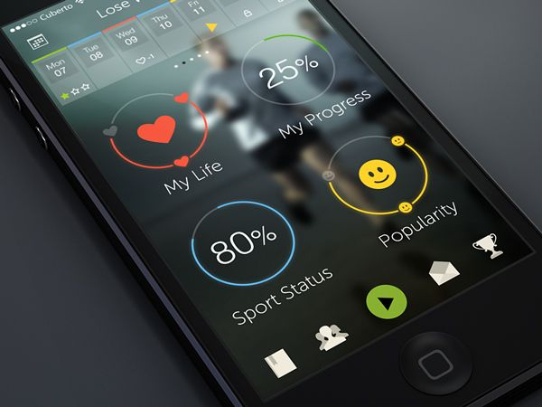 wip fitness app ios 7 Great Examples of Mobile Apps Interface Designs