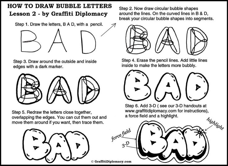 How to draw Bubble Letters-free handout-method 2