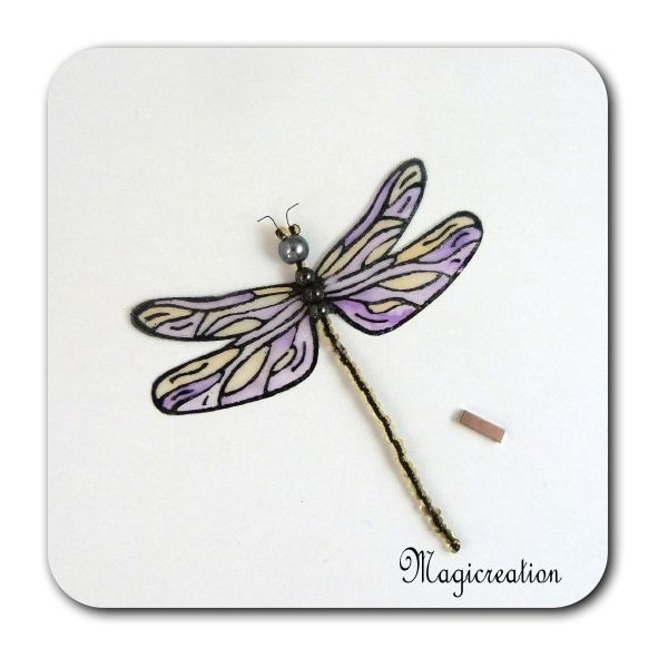 MAGNET LIBELLULE TRANSPARENTE MAUVE-DEMOISELLE - Boutique www.magicreation.fr