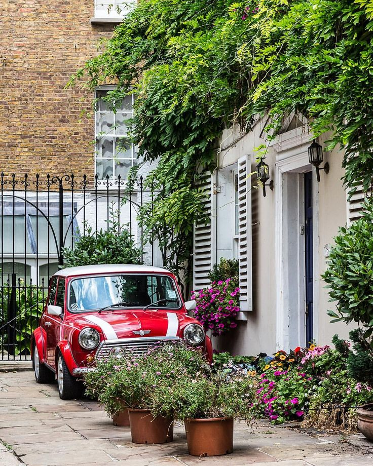 Classic red Mini in Kensington, London