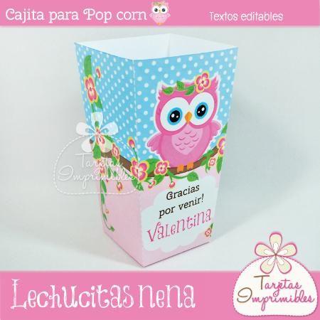 Cajita de Popcorn para nena Lechucitas  - Tarjetas Imprimibles