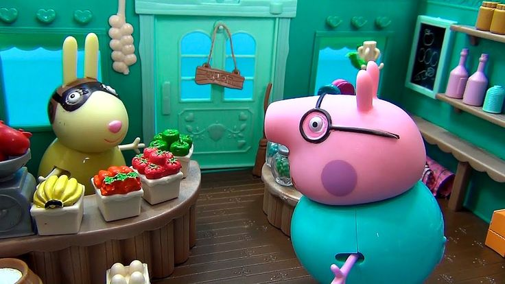 Peppa Pig en français. Bonbons pour Peppa Pig et George. Papa Pig va ach...
