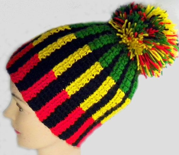 Rasta Beanie Hat With Pompom Crochet Men Women Bob