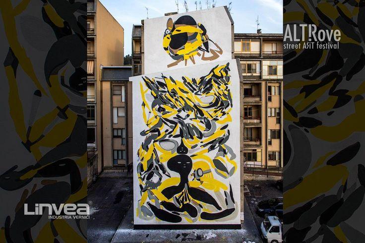 """""""Madre Nostra"""" di Giorgio Bartocci per ALTrove - Street Art Festival - #Catanzaro, quartiere #Aranceto. Una sorta di omaggio alla terra, all'essere umano come strumento e veicolo di energia, di vita. Nei tanti frammenti si compone una scena densa e fluida che anima lo spirito dell'artista e trasmette la sua propensione a considerare gli uomini inconsapevolmente collegati in un enorme insieme. ph Angelo Jaroszuk Bogasz"""