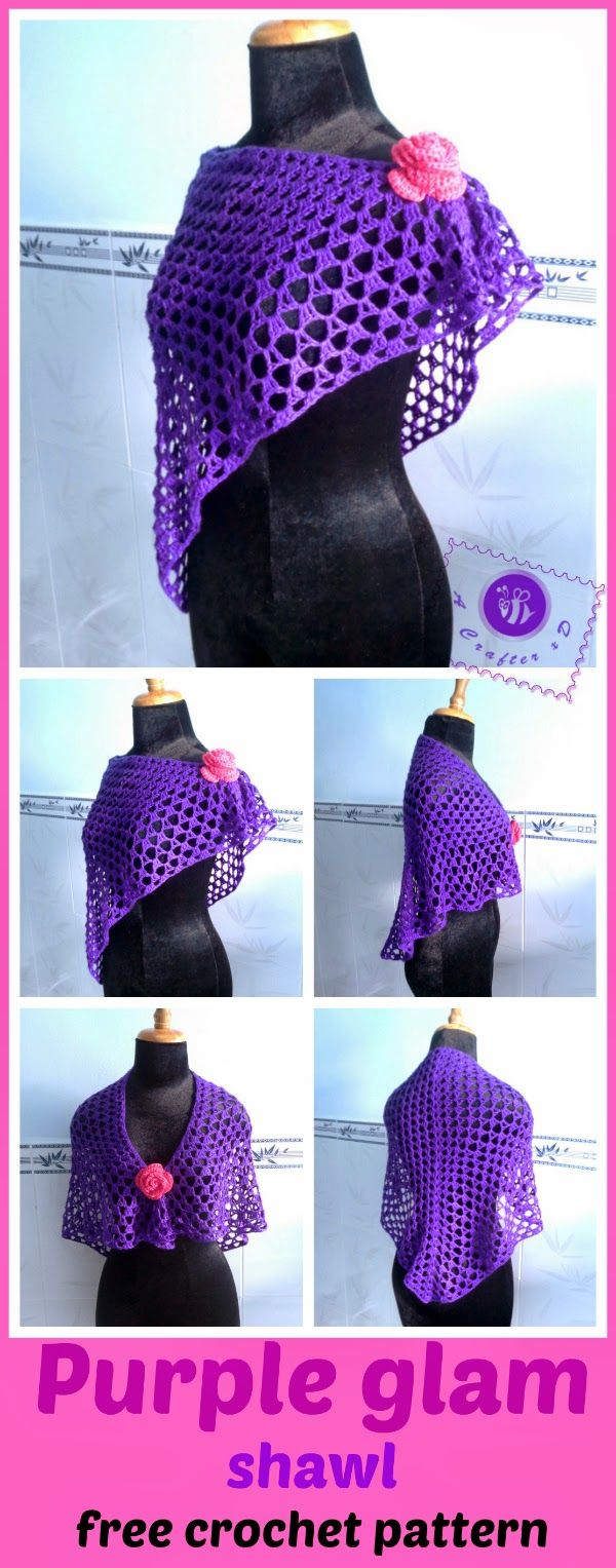 """""""Purple glam"""" shawl - free crochet pattern. Only maybe not crochet, but similar out of lace or lightweight fabric? And with a red flower, of course"""