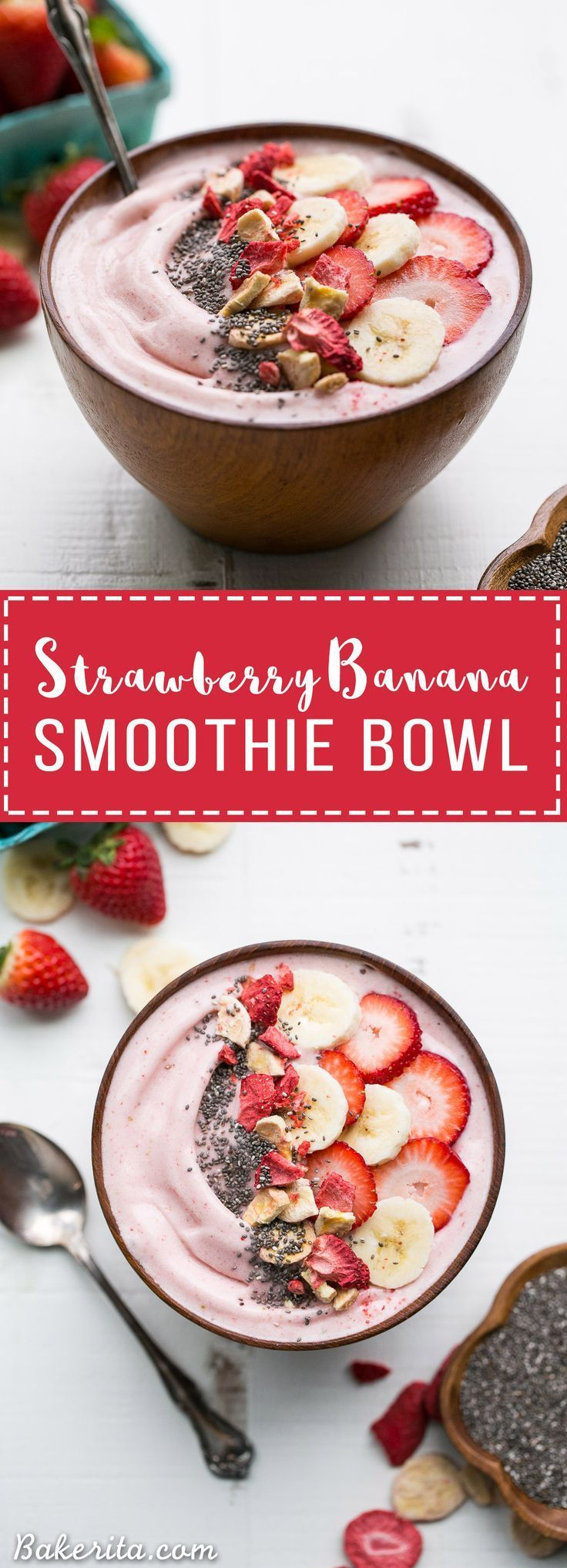 This easy Strawberry Banana Smoothie Bowl is a simple and sweet treat! It's a healthy Paleo + vegan breakfast or snack made with only a few ingredients, and you can add whichever toppings your heart d