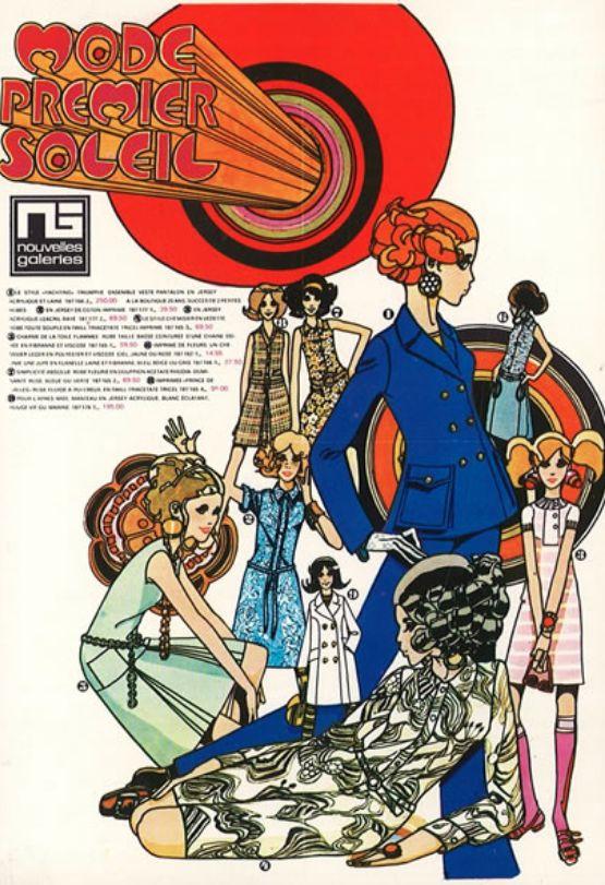 Fashion Illustration by Prince Francois de Baschmakoff (1931-1981, French), 1960's, Mode Premier Soleil, Nouvelles Galeries, Groupe Galeries Lafayette, France.