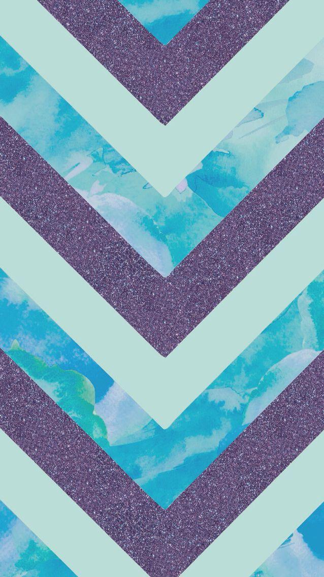 Purple glitter water color chevron
