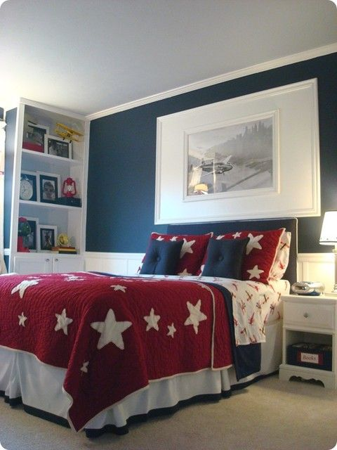 LOVE love love love this room, perfect! I adore the bedding, the wall color, just fabulous! Found here: http://www.houzz.com/photos/244921/Boy-airplane-room--kids-indianapolis