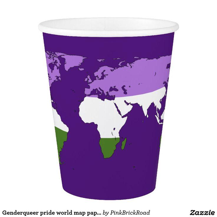 Genderqueer pride world map paper cup