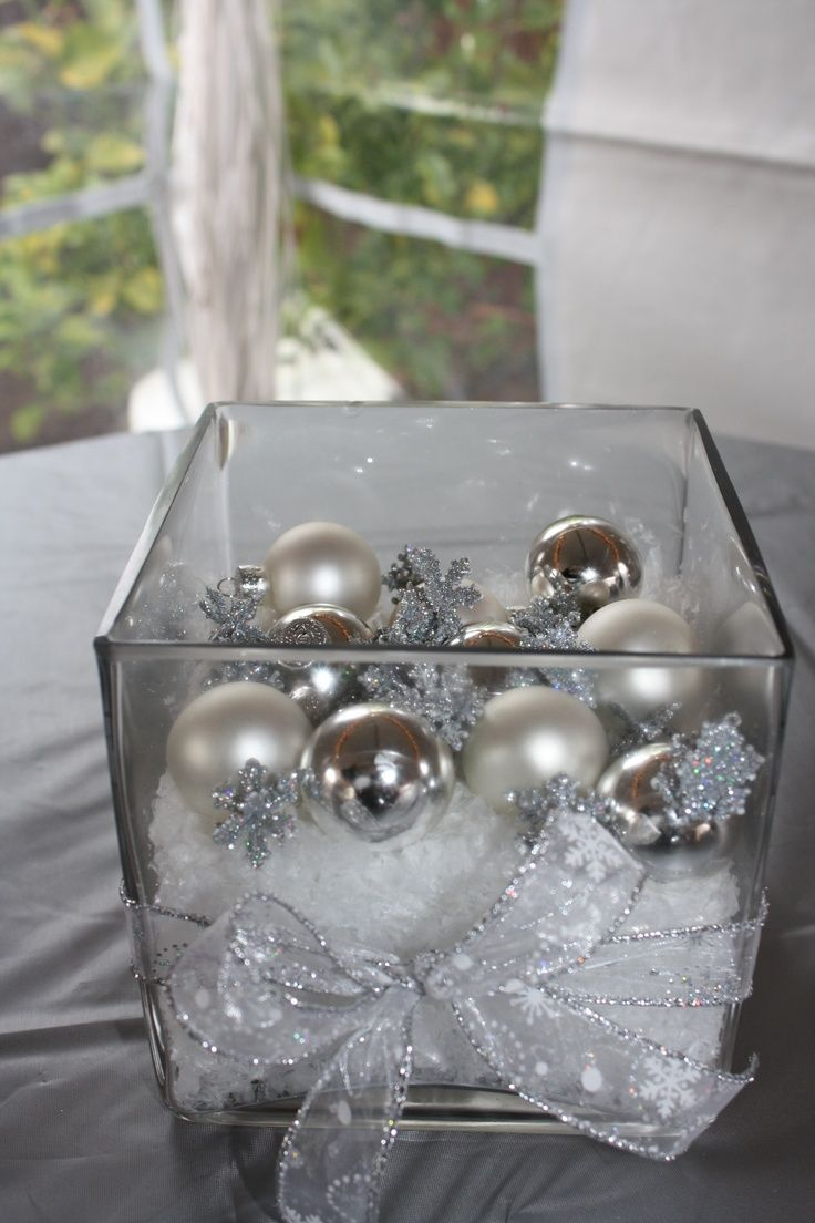 Centerpieces- Mini ornaments & snow in square vases | Christmas Joy