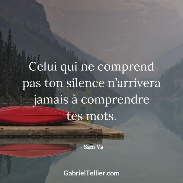Celui qui ne comprend pas ton silence n'arrivera jamais à comprendre tes mots. #citation #citationdujour #proverbe #quote #frenchquote #pensées #phrases #french #français