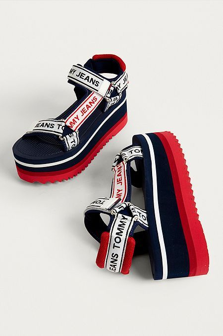 b057e5345ee9 Tommy Jeans Technical Navy Platform Sandals in 2019