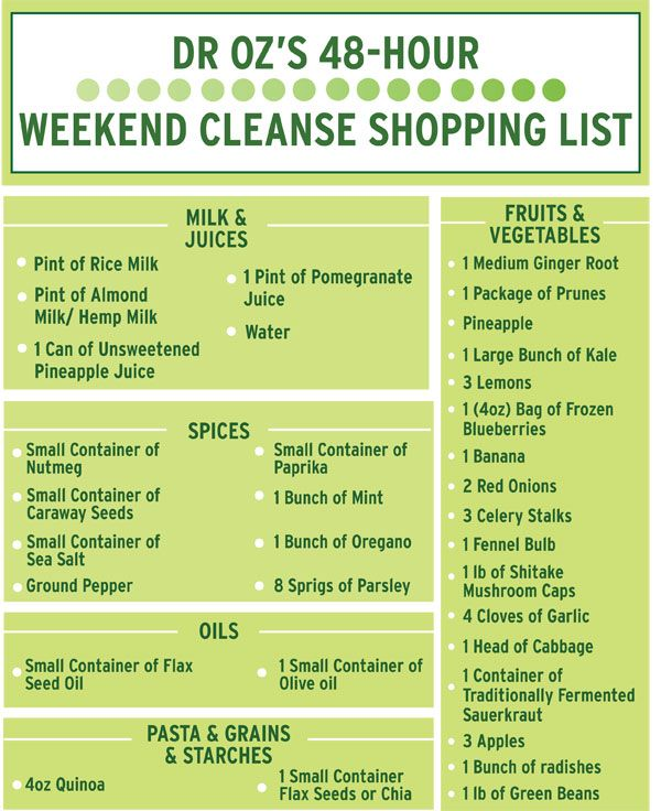Dr Oz S 48 Hour Weekend Cleanse Shopping List The Dr