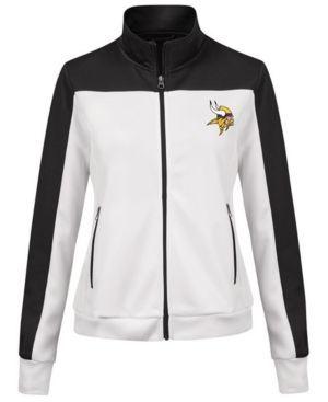 G-iii Sports Women's Minnesota Vikings Play Maker Rhinestone Track Jacket - White XXL