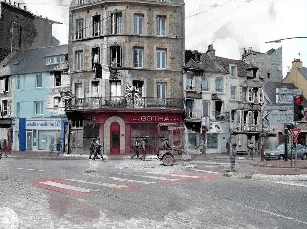 """Ghosts of War"" is an ongoing series of then and now composite photos of Europe during World War II byDutch historian Jo Hedwig Teeuwisse …"