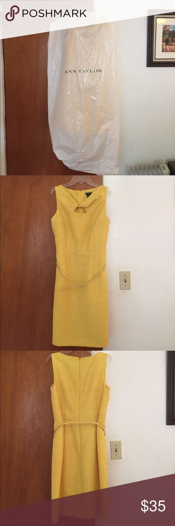 Size 8-petite Ann Taylor Yellow Cocktail Dress Beautiful Ann Taylor dress very gently used, only worn once, in impeccable condition. Dress hits above the knees and comes with a belt. Ann Taylor Dresses