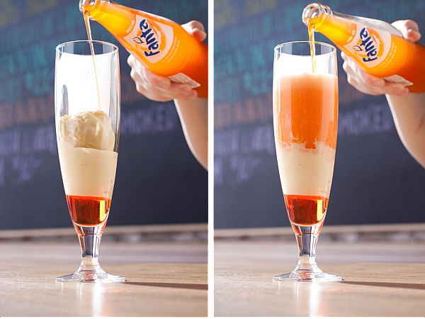 ORANGE SODA FLOAT ~ orange soda of choice, vanilla bean ice cream, & a shot of Italian Aperol {optional}; put in glass in order shown in picture ~ YUM!!!!  {Approx. amounts: 1/7 Aperol, 3/7 ice cream, 3/7 soda ~ change for personal preference!}