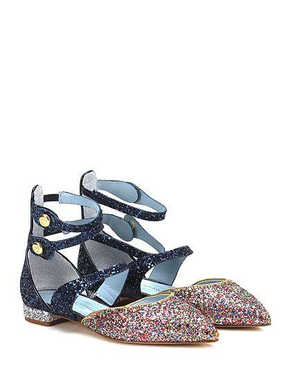 Chiara Ferragni - Flat sandals - Women - Sandalo basso in glitter con doppio cinturino e suola in cuoio. Clips su lato esterno, tacco 20. - BLU\MULTICOLOR