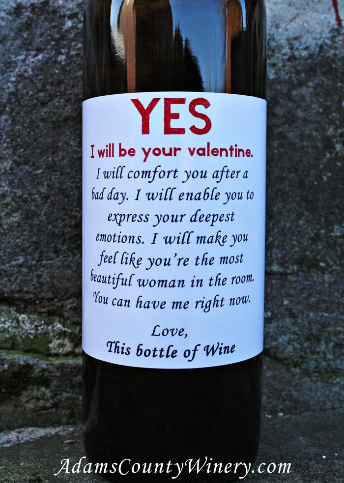 Funny Valentine Wine Bottle From Adams County Winery.