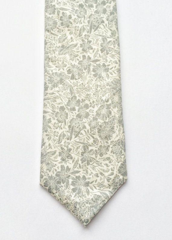 Floral tie Mens skinny tie wedding skinny tie grey by BeauTieUK