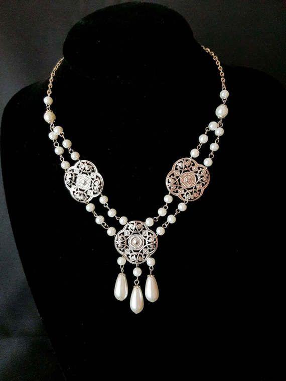 Bohemian Edwardian Pearl Necklace Edwardian Bridal Necklace