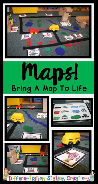 Get a freebie to get you started from this blog post! Just add felt or foam pieces to your block center to create interactive maps. Kids can learn map skills, explore communities and community helpers, and practice a number of math and literacy skills!