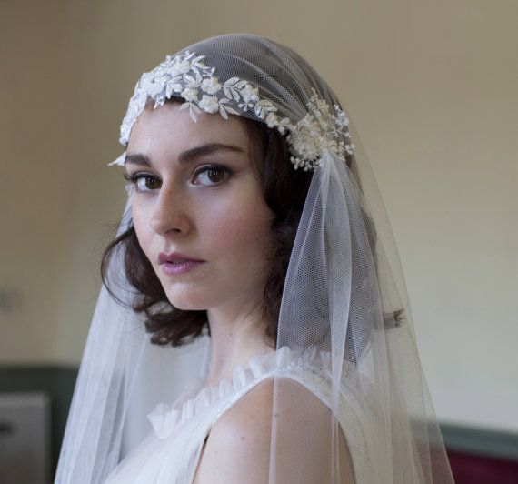 Dramatic Juliet Cap Veil with Beaded Floral lace Kate by AgnesHart