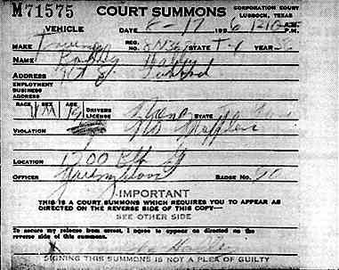 """Driving with 'No Muffler'. Also listed is the car make and registration [I believe this was for his motorcycle, a """"Triumph"""" make -- SH], location, and officer (can anybody make these out?), anyway, its signed by Buddy himself. I have no idea whether he ended up paying a fine or what, maybe you know?"""