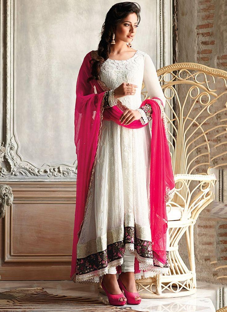 Phenomenal White Chiffon Anarkali Suit
