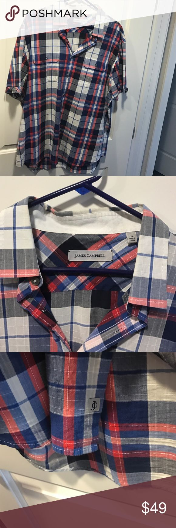 James Campbell - XL - Shortsleeve James Campbell - XL - Short sleeve - Red/white/blue - no stains , rips , tears. NO TRADES James Campbell Shirts Casual Button Down Shirts