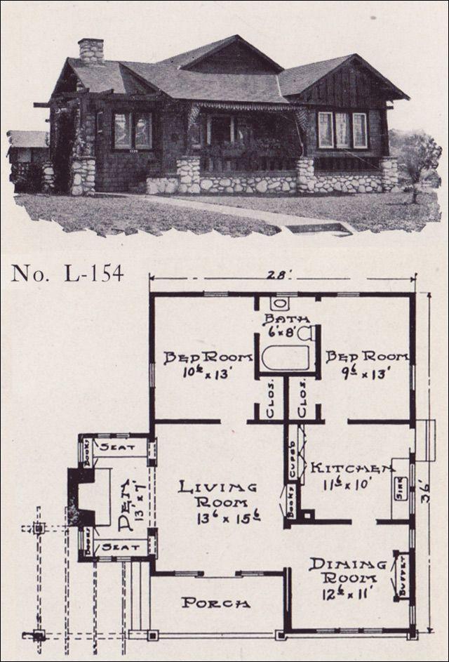 1922 Artistic Craftsman-style Bunglow Home Plan - No. L-154 - E. W. Stillwell & Co.