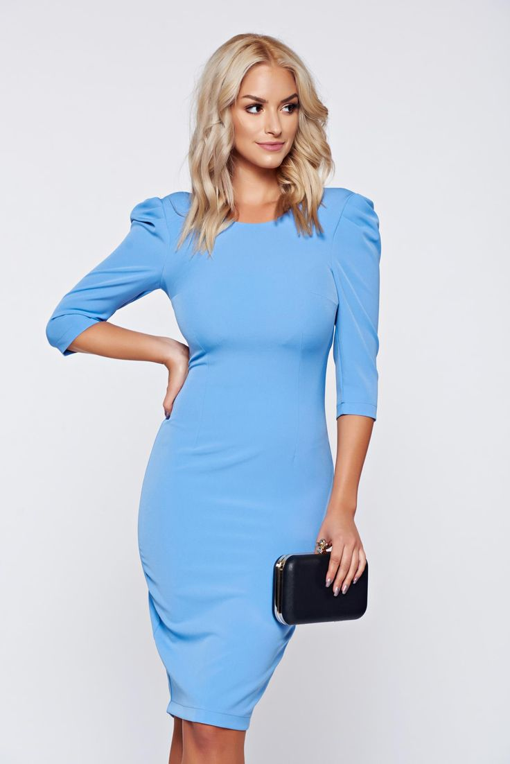 StarShinerS elegant cloth pencil 3/4 sleeve blue dress, back zipper fastening, 3/4 sleeves, tented cut