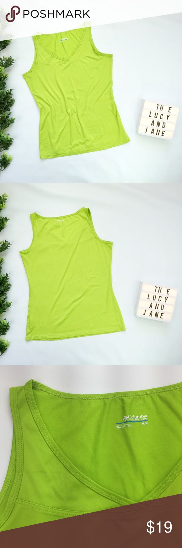 Columbia Sportswear Tank Pre-Loved Columbia Sportswear Company Tank Top in Bright Kelly Green.   * No Pulls * No Stains * Minimal Pilling * 100% Polyester   No Trades No Mercari No Off Posh Sales Crazy Low Offers Will Be Declined Columbia Tops Tank Tops