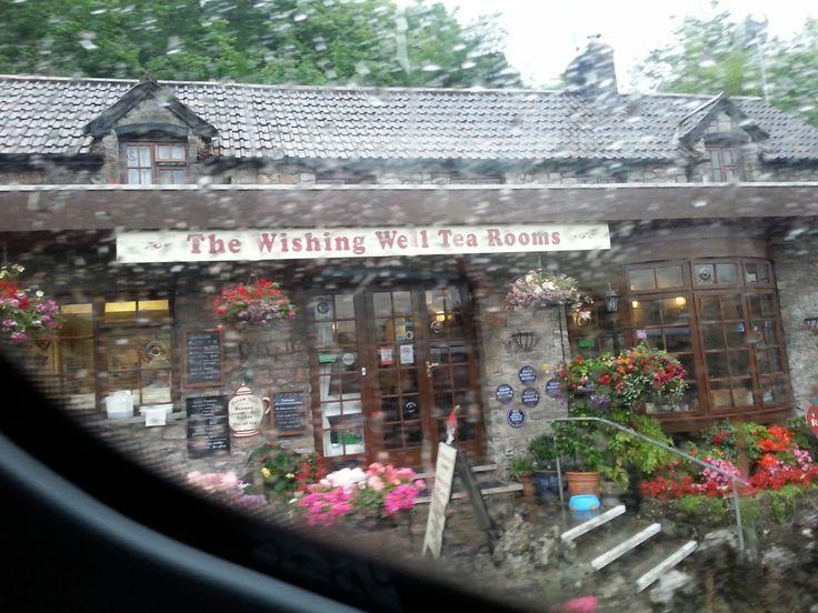 Při cestě s Cheddar Gorge do městečka Cheddar ... foceno z autobusu