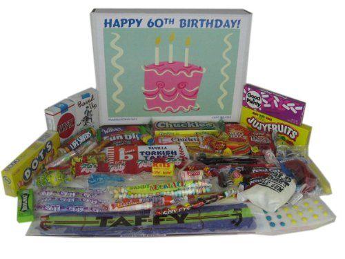 Happy 60th Birthday Party Celebration Ideas: Gift Basket Box of Retro Candy - http://www.yourgourmetgifts.com/happy-60th-birthday-party-celebration-ideas-gift-basket-box-of-retro-candy/