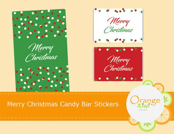 Merry Christmas Mini Candy Bar Labels Holiday by OrangeKiwiDesign