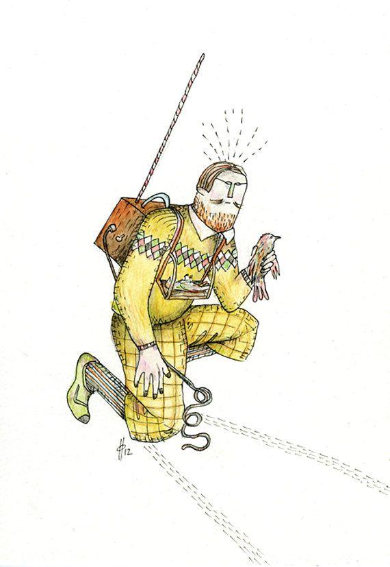 Original Drawing - 'Emmett's Broadcast'. $80.00, via Etsy.