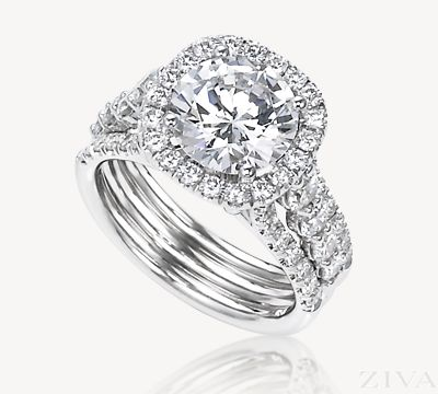 3 Carat Diamond Ring with Square Halo & Wide Band